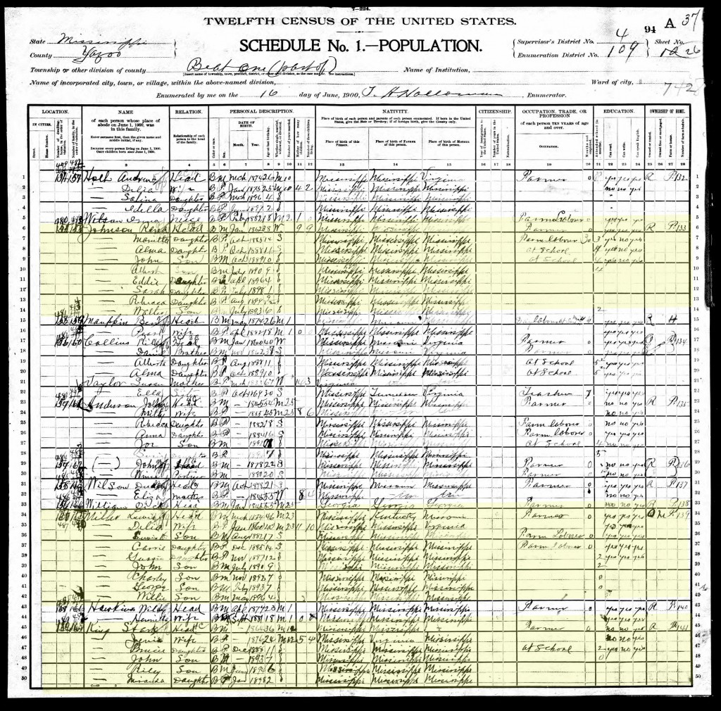 1900 U.S. Census, Yazoo County, Beat 1 (Enola Precinct) Page 50 of 67