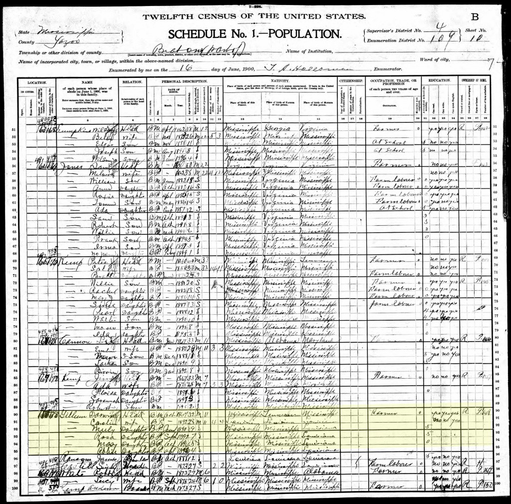 1900 U.S. Census, Yazoo County, Beat 1 (Enola Precinct) Page 51 of 67