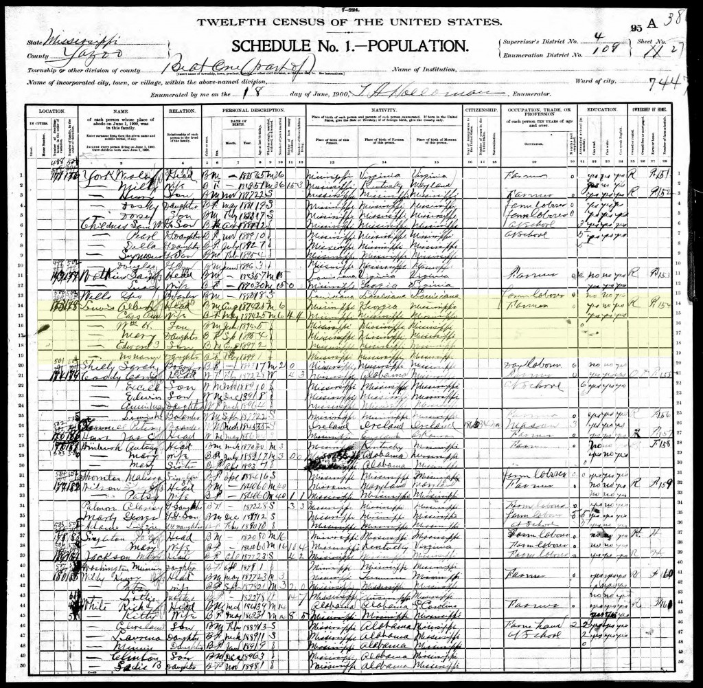 1900 U.S. Census, Yazoo County, Beat 1 (Enola Precinct) Page 52 of 67