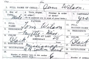 Portion of my grandfather's birth certificate