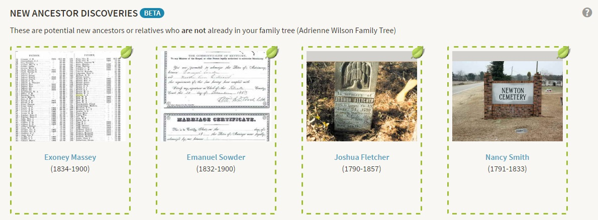 New Ancestor Discoveries  as found on Ancestry DNA for my maternal aunt